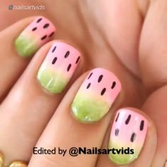 Nail DIY tutorial. Created by @hellomaphie. Edited by @nailsartvids Cute watermelon nails.  The cosmetic sponge wedge used in tutorial can be found on amazon, Walmart or Sally's Beauty. About $7 for a 100pc pack. Click the link in bio---Where to Buy Nail Art Supplies.  #nailideas #nail #nailart #nailpolish #nailhowto #nailtutorial #nailartdesign #naildiy #tutorial #tutorials #instructions #instruction #nailswag #nailartjunkie #diyideas #diyproject #nailvideos #nailartvideos #nailsart…