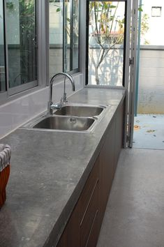 Kitchen: Polished concrete counter tops