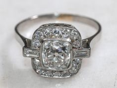 Platinum and Diamond Ring 7   From a unique collection of vintage engagement rings at http://www.1stdibs.com/jewelry/rings/engagement-rings/