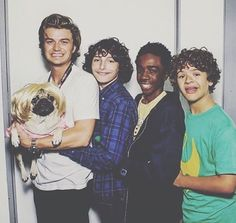 Stranger Things: Joe Keery, Finn Wolfhard, Caleb McLaughlin, and Gaten Matarazzo (photo via Caleb's Instagram)