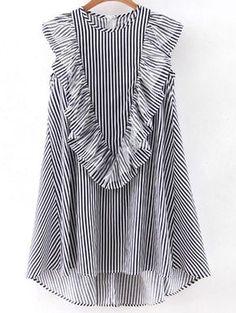 Vertical Striped Sleeveless Ruffle Dipped Hem Zipper Dress -SheIn(Sheinside) Mobile Site
