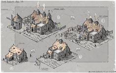 Early Age Of Empires Castle Siege Concept sketches, David Cameron Sloan