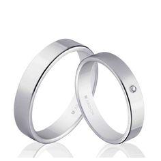 Alianzas de boda plana Oro 1ª Ley 18Kts. blanco 4mm Argyor 5B40150 18K