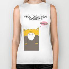 Meow-chelangelo Buonarroti Biker Tank by adrianserghie Graphic Tank, Tanks, Biker, Stuff To Buy, Women, Women's, Shelled, Woman, Thoughts