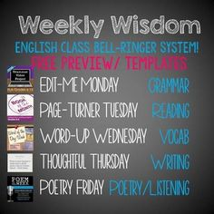 & Programs Bundle for MIDDLE School ELA A whole year of pre-made and student-made bell-ringers/daily warm-ups for English Class!A whole year of pre-made and student-made bell-ringers/daily warm-ups for English Class! Ela Classroom, Middle School Classroom, English Classroom, Classroom Ideas, English Teachers, Middle School Reading, Middle School English, Teaching Language Arts, Teaching English