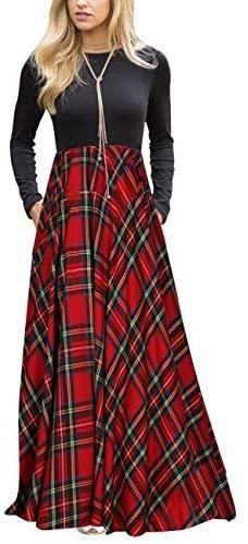 Women's Plaid Long Sleeve Empire Waist Full Length Maxi Dress with Pockets