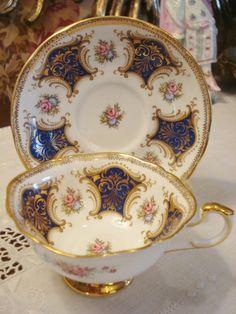 Vintage Paragon England Footed Cup Saucer Cobalt
