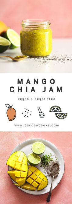 Mango Chia Jam (works with many fruits) Quick and easy recipe for a Mango Chia Jam, completely plant-based and sugar free.Quick and easy recipe for a Mango Chia Jam, completely plant-based and sugar free. Vegetarian Food List, Healthy Food List, Good Healthy Recipes, Vegan Recipes, Vegan Desserts, Healthy Eats, Chia Jam Recipe, Easy Jam Recipe, Mango Recipes