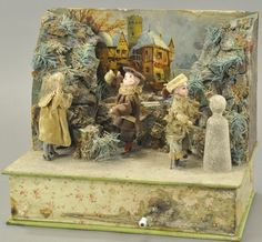Quaint mountain scene depicts children in foreground making snowman and throwing snowball, while in the background ch. on May 2016 Antique Christmas, Vintage Christmas Ornaments, Christmas Crafts, Christmas Houses, Merry Christmas, Mechanical Art, Altered Tins, Vintage Dollhouse, Feather Tree