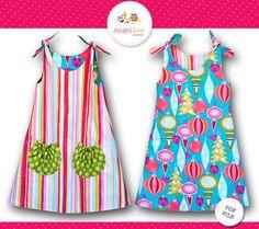 Patrón de vestido lazo. Patrón de vestido de las niñas. Tutorial para el vestido de Eva, Reversible, instante y patrón de costura PDF Descargar patrón Digital