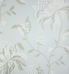 Silwood Wallpaper A large floral design wallpaper with reflective detailing in ivory and aqua.