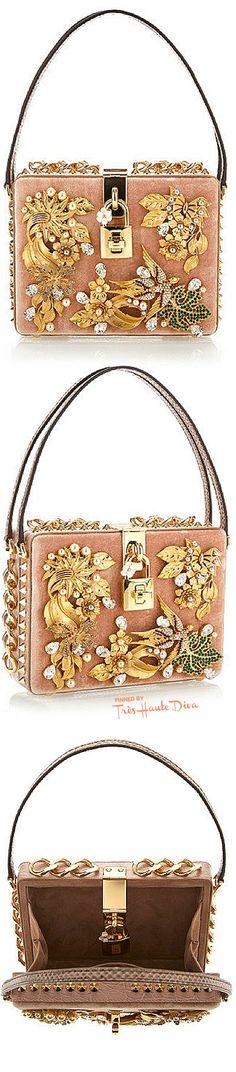 Dolce & Gabbana Fall 2015 Nude Velvet Cocco Bag  ♔Très Haute Diva♔