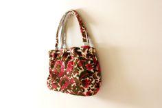 vintage purse 50s carpet bag handbag floral by diaphanousvintage