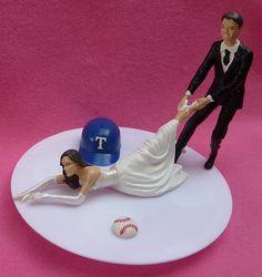 Wedding Cake Topper Texas Rangers G Baseball Themed W/ Bridal Garter Humorous…