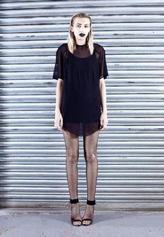 Black Powermesh Tshirt Dress Thumbnail