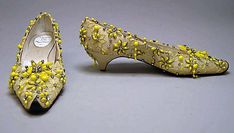 Evening shoes House of Dior (French, founded 1947) Designer: Roger Vivier (French, 1913–1998) Date: ca. 1960 Culture: French Medium: silk, cotton, plastic, glass, leather