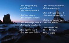 Life is an opportunity, benefit from it. Life is beauty, admire it. Life is bliss, taste it. Life is a dream, realize it. Life is a challenge, meet it. Life is a duty, complete it. Life is a game, play it. Life is a promise, fulfill it. Life is sorrow, overcome it. Life is a song, sing it. Life is a struggle, accept it. Life is a tragedy, confront it. Life is an adventure, dare it. Life is luck, make it. Life is too precious, do not destroy it. Life is life, fight for it.  Mother Teresa