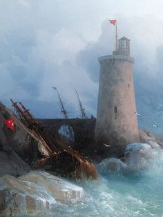 This breathtaking work by Ivan Konstantinovich Aivazovsky was owned by the Russian Imperial family. Dated 1866 ~ M.S. Rau Antiques