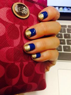 Blue and gold self nail art for short nails