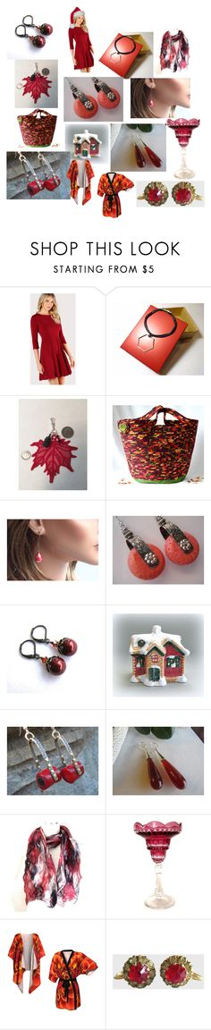 """Red for Christmas"" by anna-recycle ❤ liked on Polyvore featuring modern, rustic and vintage"