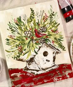 Christmas Gift Tags, Rustic Christmas Printables by TheSwankyRooster : Even birds can deck the halls! New Christmas art! Prints on canvas and paper available in my Etsy shop 🎄 More to see in the shop. Christmas Bird, Christmas Crafts, Christmas Printables, Rustic Christmas, Vintage Christmas, Christmas Ideas, Christmas Decorations, Christmas Paintings On Canvas, Winter Painting
