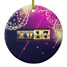 Elegant Festive New Year Counter Design Happy New Year 2017 Corporate / Business / Family Personalized Gift Christmas Ceramic Ornaments. Matching cards, postage stamps and other products available in the Christmas & New Year Category of the Mairin Studio store at zazzle.com