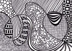 Love this artisit on ETSY Ink Drawing, Original Zentangle, Black and White Illustration, 5 x 7