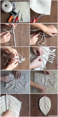 DIY Macrame Tutorial: How To Make A Large Macrame Feather/Leaf – CSHEB How To Do Macrame, Macrame Art, Macrame Design, Macrame Projects, Macrame Knots, Macrame Wall Hanging Patterns, Macrame Patterns, Yarn Crafts, Sewing Crafts