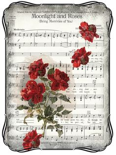 ♫ ♥¸.•*´♫ / artistic images / prints / roses on sheet music
