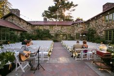 Ceremony playlist and music suggestions - garden courtyard ceremony with guitarist. Willowdale Estate, a weddings and events venue in Topsfield, Massachusetts. WillowdaleEstate.com | Billye-Donya Photography