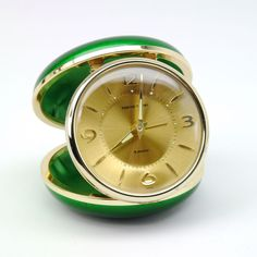 Vintage Tokyo Tokei Japan 2 Jewels Wind Up Folding Travel Alarm Clock Green Gold #TokyoTokei