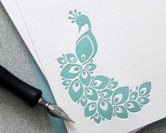 Peacock Note Card Set Letterpress Bird Light Aqua Blue Gray Aquamarine 10 pack (NPE02)