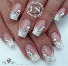 Picture result for nail design glitter - nails - # picture result Best Picture For indian Wedding Na Nail Designs Bling, Nail Design Glitter, Bridal Nails Designs, Wedding Nails Design, White Nail Designs, Glitter Nail Art, Acrylic Nail Designs, Acrylic Nails, Beauty Tutorials