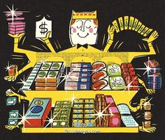 Illustration of Depiction of a Grocery Store | #828381 | Csa Images