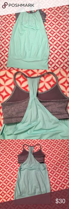 Lululemon let it loose tank - SZ 4 Excellent condition, worn only a couple times. No fraying, stains, or damage. Tag is removed (could be seen when worn). Mint with gray sports bra attached. lululemon athletica Tops Tank Tops