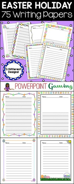 Need to spruce up your Easter writing papers? Here are 75 different Easter themed writing papers perfect for the Easter holiday.Comes in 3 types: Lined paper with the dotted line in the middle (K-2), lined paper with the dotted line AND a drawing box at the top (K-2), and regular lined paper (3 - above). Good for writing workshop or the writing center. Extra licenses are $1.00.