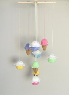 Baby Mobile Baby Shower Gift Cupcake Nursery by SimplyStitcheduk