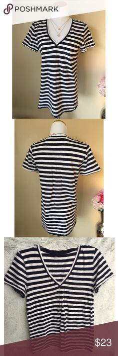 J. Crew Striped V-Neck Great soft vintage cotton top. Size is XL but it fits like a large. Super chic   ✔️If you'd like to MAKE AN OFFER please do so through the offer button ONLY. I won't negotiate prices in the comments.  ✔️All sale items, items $15 and under, & clearance items are firm unless BUNDLED.  ❌No trades, PayPal, Holds 📷Instagram: @lovelionessie J. Crew Tops Tees - Short Sleeve