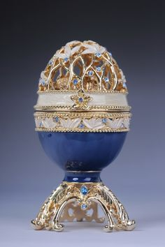 Faberge Easter egg with elephant by Keren Kopal Swarovski Crystal Jewelry box - Each item is made of pewter