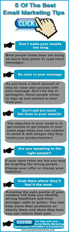 How to improve click through rates 5 of the best #emailmarketing tips #Infographics www.socialmediama...