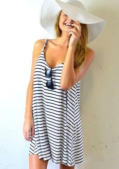 Black-White Striped Condole Belt Loose Cotton Mini Dress