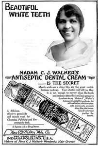"""Vintage Ad, For """"Madame C.J. Walker's Antiseptic Dental Cream, Early 20th Century"""