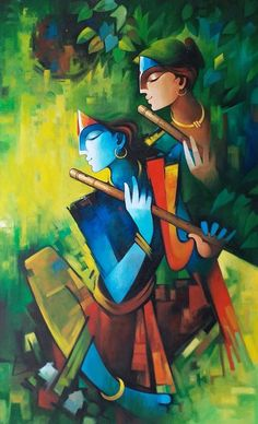 True love by Cashi Sutar – Aartique Ganesha Painting, Buddha Painting, Mural Painting, Acrylic Paintings, Ganesha Drawing, Buddha Kunst, Buddha Art, Krishna Art, Radha Krishna Paintings