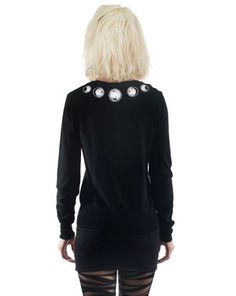 Embroidered cardigan - phases of the moon