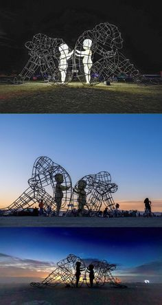 Large Wire-Frame Sculpture Shows the Glowing Forms of Children Trapped Within Adult Bodies