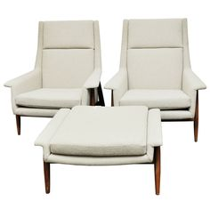 Pair of Milo Baughman for Thayer Coggin lounge chairs with matching ottoman. Chairs and ottoman have new upholstery in Classic neutral bouclé. Legs are solid walnut | USA, late 1950's | $6,200.00 USD