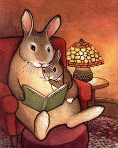 Story Time illustration by toadbriar Bunny Art, Bunny Book, Sign Printing, I Love Books, Book Illustration, Bunny Rabbit, Rabbit Art, Childrens Books, Illustrators