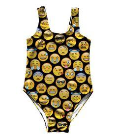 Cute Emoji Emoticons Smile Icons Print Swimsuit Bodysuit Leotard Top Swimwear
