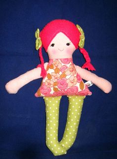 Fabric cloth doll art doll handmade doll Lulu by CecilleWorld on Etsy Marketing And Advertising, Art Dolls, Wool Blend, Doll Clothes, Little Girls, Cotton Fabric, Handmade Items, Crochet Hats, Super Cute