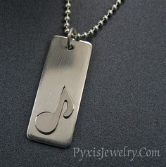 Musical Note Bar Pendant Necklace